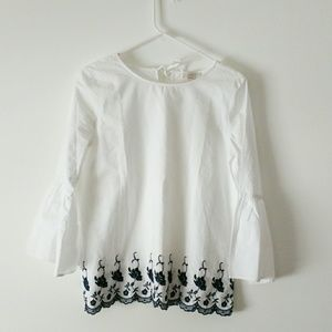 LOFT White Embroidered Top with Bell Sleeves XS